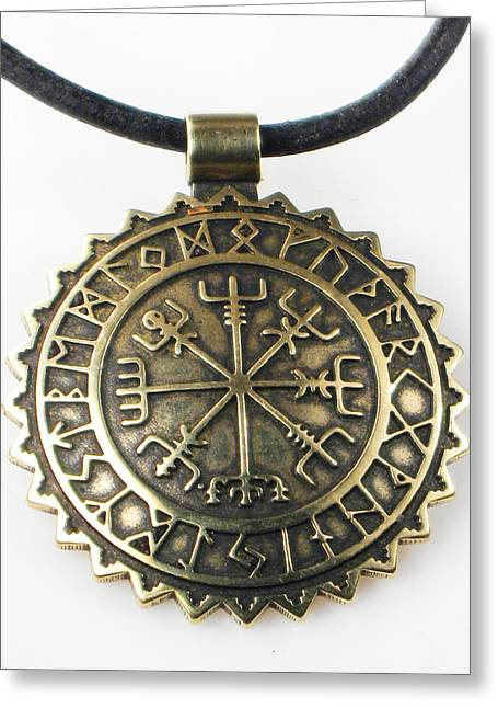 Viking Vegvisir Compass With Rune Calendar - Bronze Pendant Greeting Card by Vagabond Folk Art - Virginia Vivier