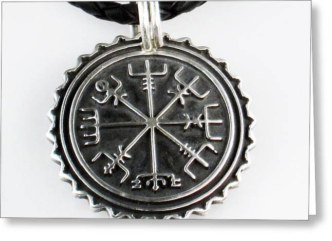 Viking Vegvisir Nautical Compass Protection Sterling Silver Pendant - Necklace - Keyring  Greeting Card by Vagabond Folk Art - Virginia Vivier
