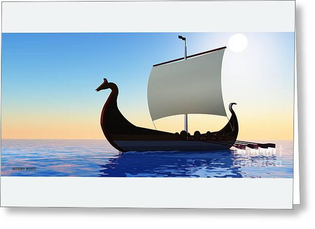 Viking Voyage Greeting Card by Corey Ford
