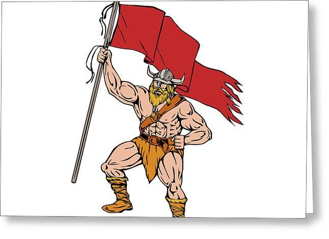 Viking Warrior Brandishing Red Flag Retro Greeting Card