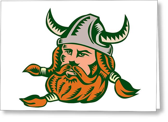 Viking Warrior Head Woodcut Greeting Card by Aloysius Patrimonio