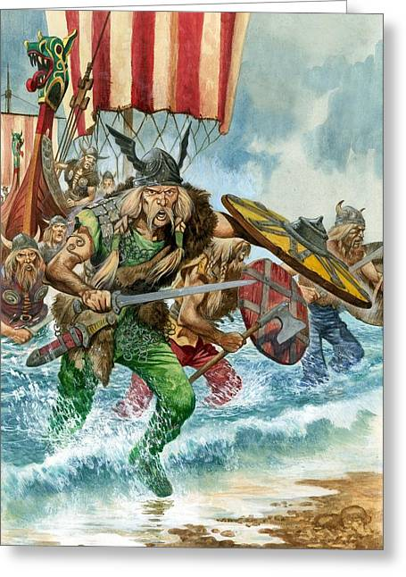 Landing Paintings Greeting Cards - Vikings Greeting Card by Pete Jackson