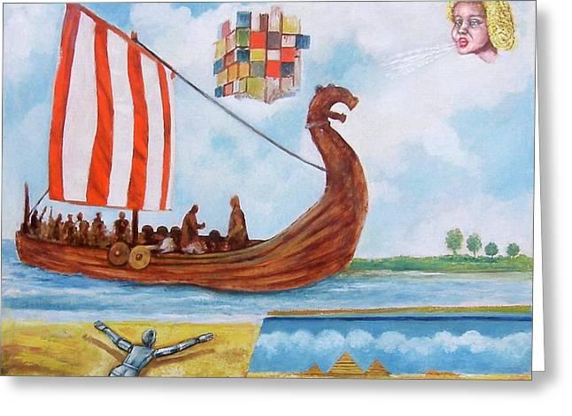 Vikings Greeting Card by Rudolf  Zamazal