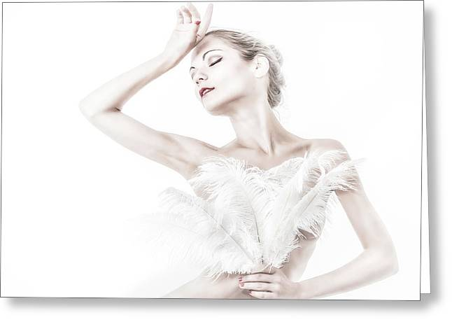 Viktory In White - Feathered Greeting Card by Rikk Flohr
