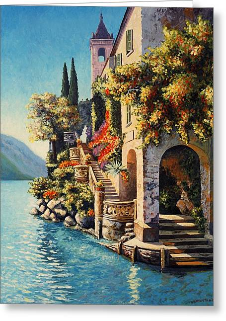 Villa Balbianello Lake Como Greeting Card by Santo De Vita