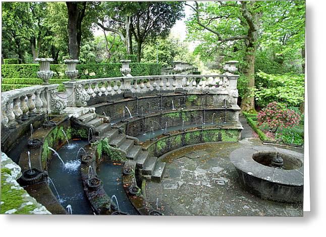Villa Lante Garden Greeting Card by Valentino Visentini