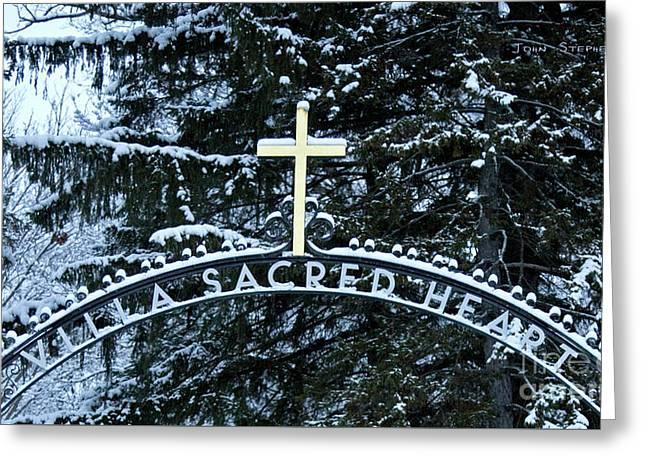 Villa Sacred Heart Winter Retreat Golden Cross Greeting Card by John Stephens