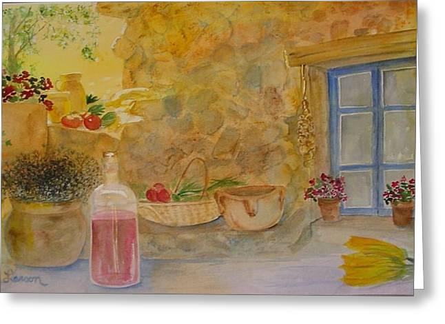 Villa With Still Life Greeting Card by Vivian Larson