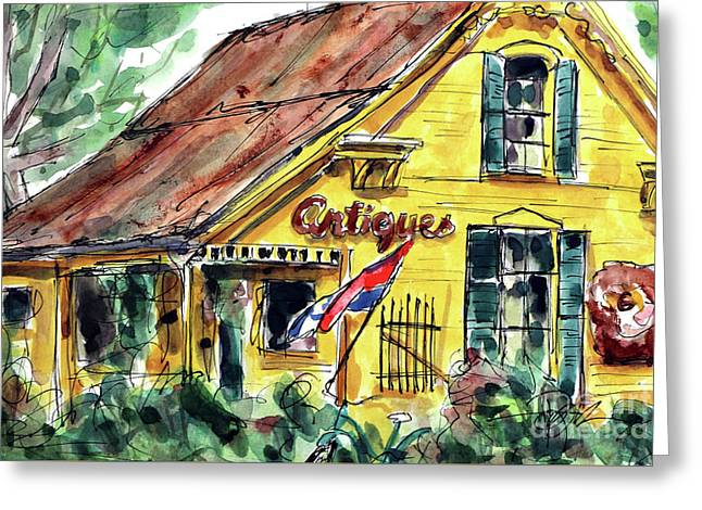 Village Antiques Greeting Card