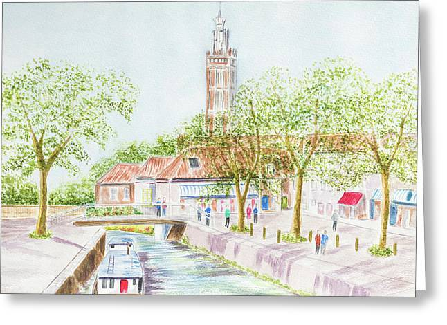 Village Canal Greeting Card by Roy Pedersen