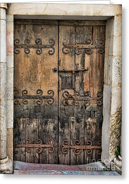 Village Chateau French Old Ancient Door Color  Greeting Card