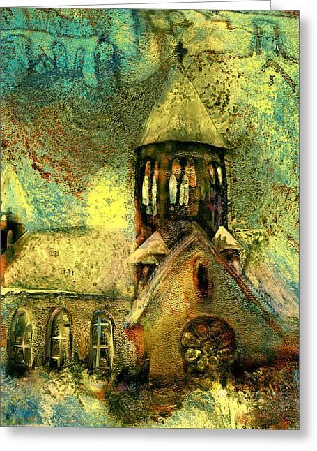 Village Church Greeting Card by Anne Weirich