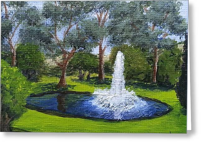 Village Fountain Greeting Card