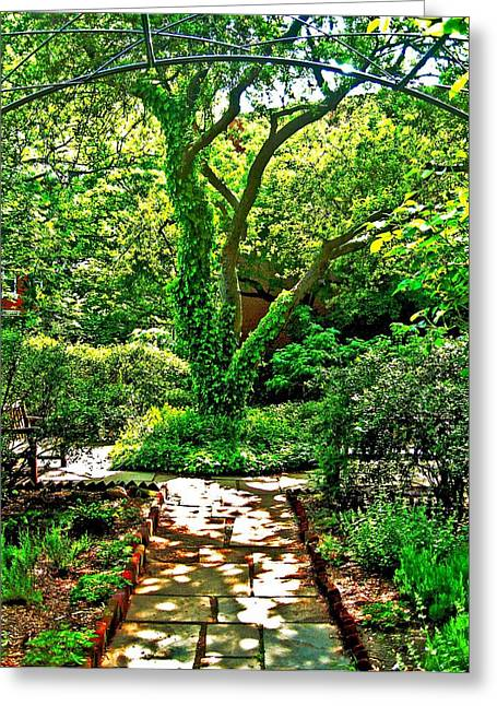 Village Garden Greeting Card by Bonnie Rose Parent
