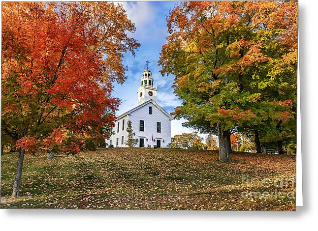 Village Green And Church Greeting Card by John Greim