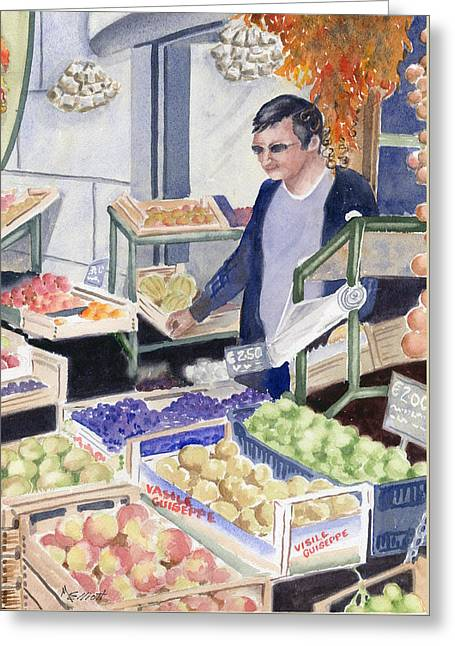 Village Grocer Greeting Card by Marsha Elliott