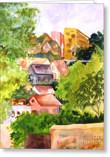 Village Hillside Greeting Card by Sandi Stonebraker