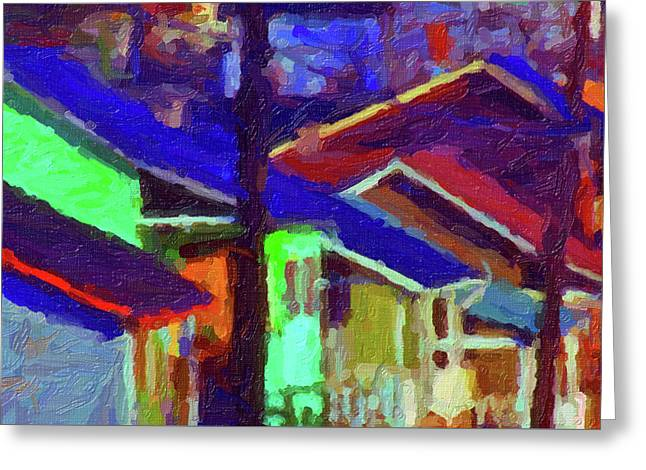 Greeting Card featuring the digital art Village Houses by Richard Farrington