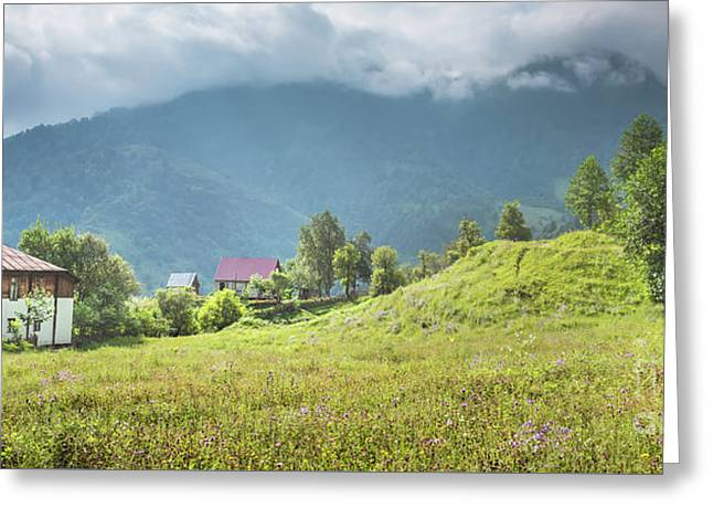 Village In A Mountains Greeting Card by Svetlana Sewell