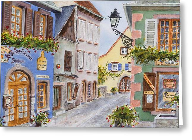 Village In Alsace Greeting Card by Mary Ellen Mueller Legault