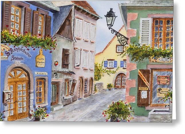 Village In Alsace Greeting Card by Mary Ellen Mueller Legault