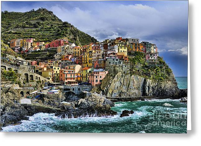 Best Sellers -  - Surf City Greeting Cards - Village of Manarola - Cinque Terre - Italy Greeting Card by JH Photo Service