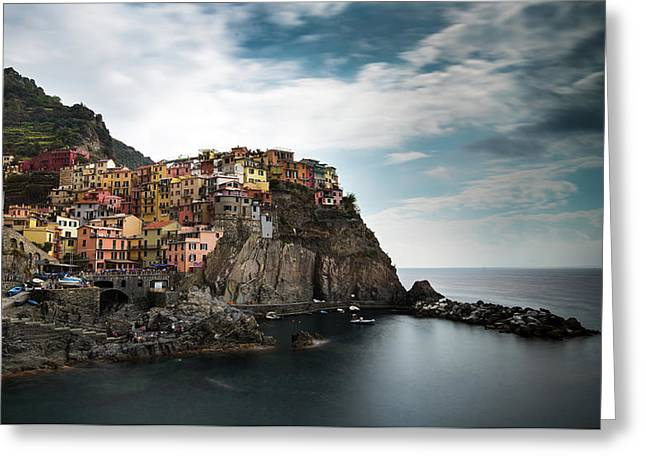 Greeting Card featuring the photograph Village Of Manarola Cinqueterre, Liguria, Italy by Michalakis Ppalis