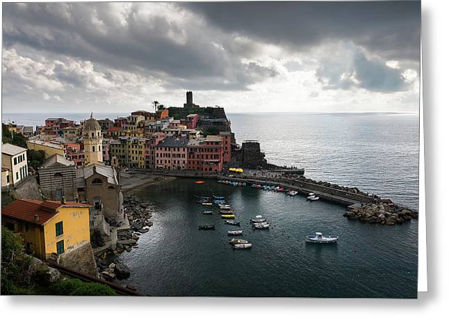 Greeting Card featuring the photograph Vernazza Village, Italy  by Michalakis Ppalis