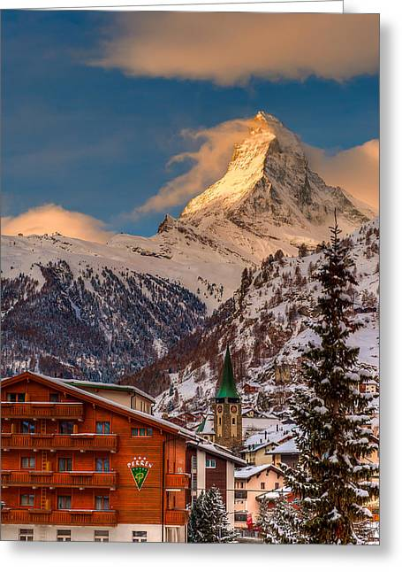 Village Of Zermatt With Matterhorn Greeting Card