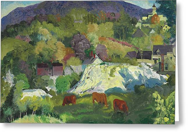 Village On The Hill Greeting Card by George Bellows