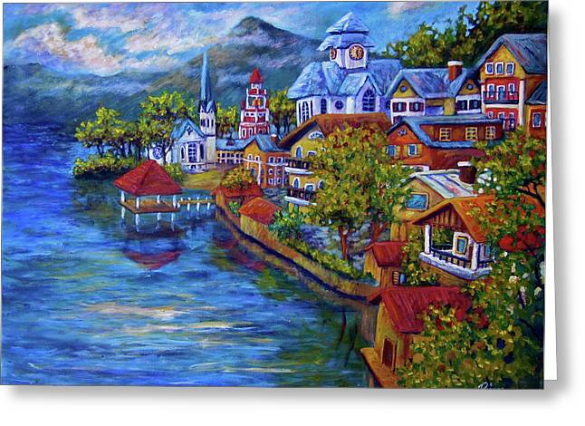 Village On The Lake Greeting Card by Sebastian Pierre