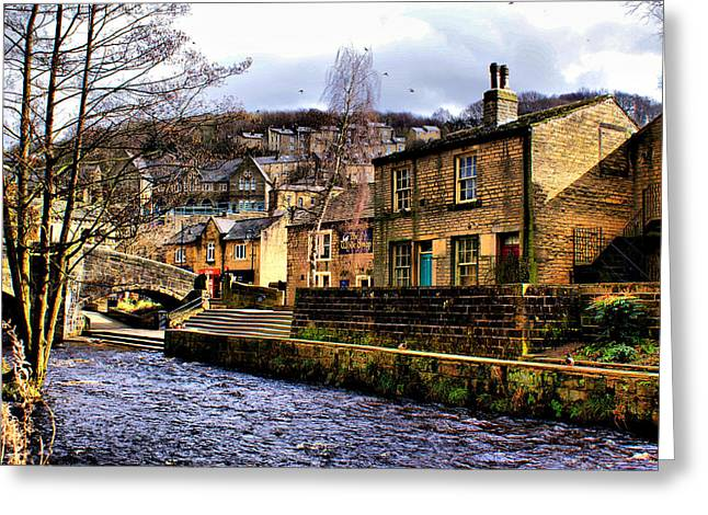 Village On The River Greeting Card by Jacqui Kilcoyne
