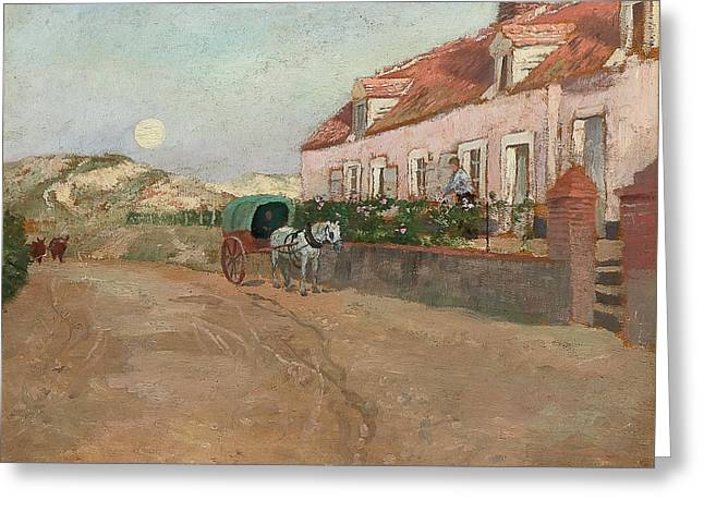 Village Road Greeting Card by Frits Thaulow