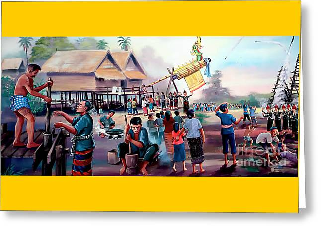 Village Rocket Festival-vintage Painting Greeting Card by Ian Gledhill