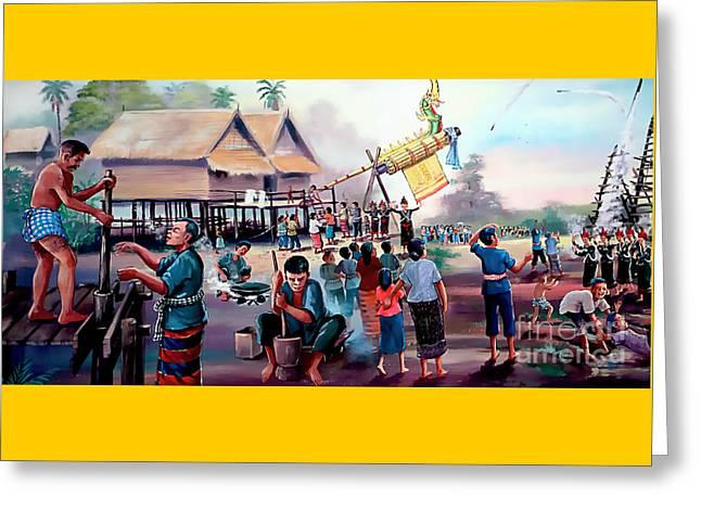 Village Rocket Festival-vintage Painting Greeting Card