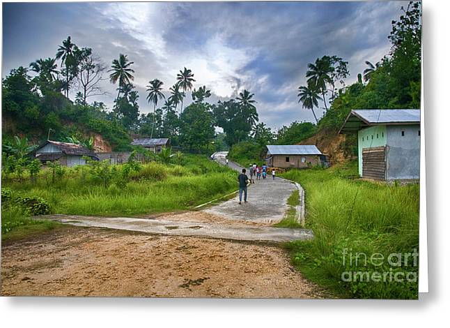Greeting Card featuring the photograph Village Scene by Charuhas Images