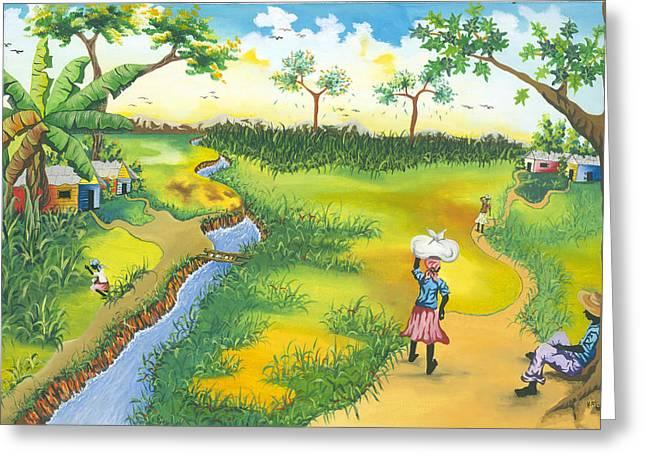Village Scene Greeting Card by Herold Alveras