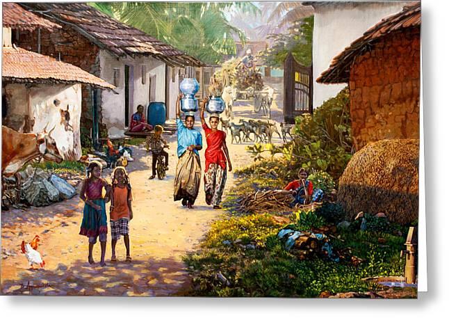 Village Scene In India Greeting Card by Dominique Amendola