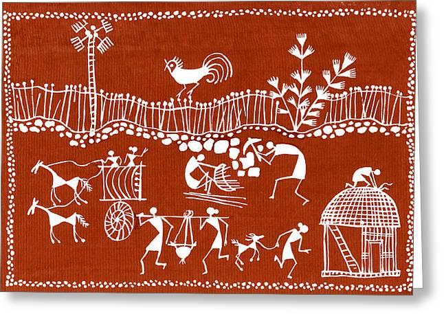 Village Scene In Warli Tribal Art Greeting Card by Jey Manokaran
