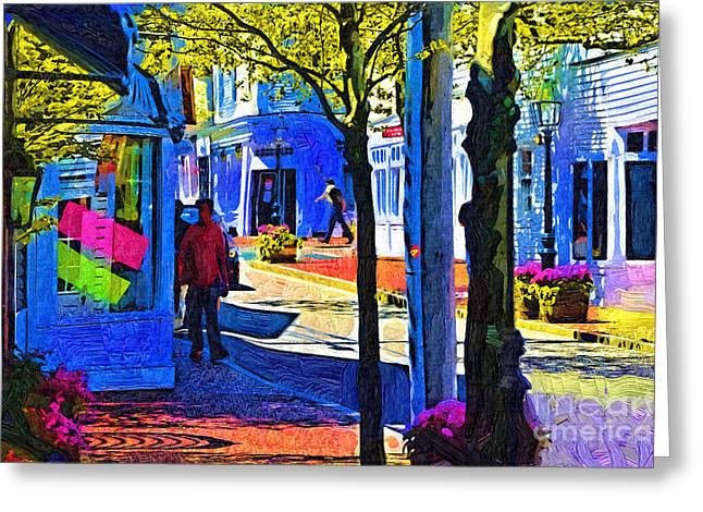 Village Shopping Greeting Card by Kirt Tisdale