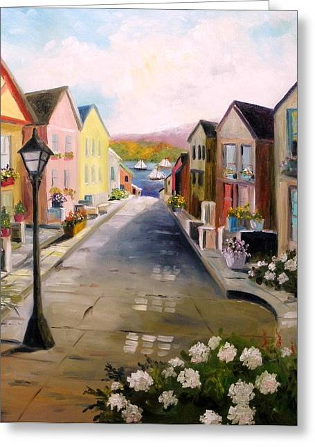 Greeting Card featuring the painting Village Street by John Williams