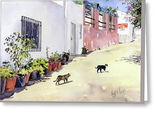 Village Street With Cats In Hortichuelas Greeting Card