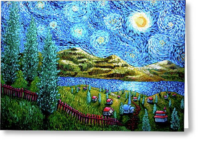 Village Under The Stars Greeting Card