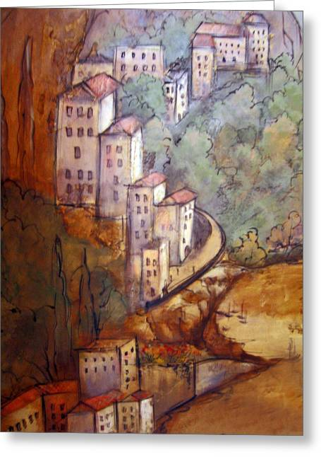 Village View Greeting Card by Katherine Boritzke