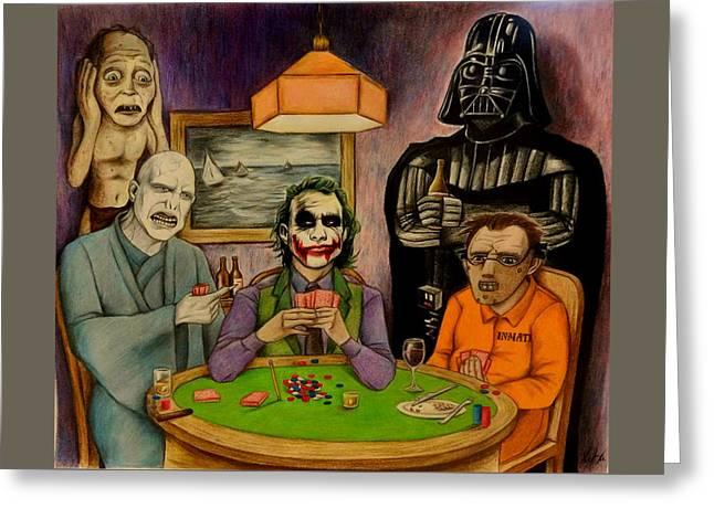 Villains Playing Poker Greeting Card by Seth Malin