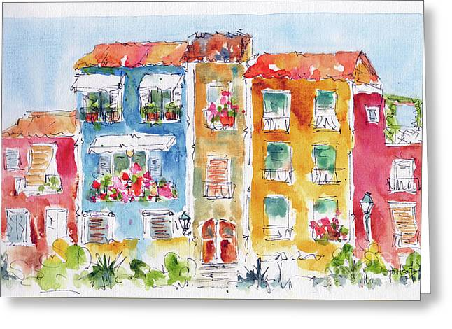 Greeting Card featuring the painting Villajoyosa Spain by Pat Katz