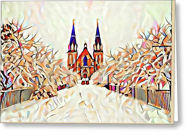 Villanova Cathedral Watercolor Greeting Card by Bill Cannon