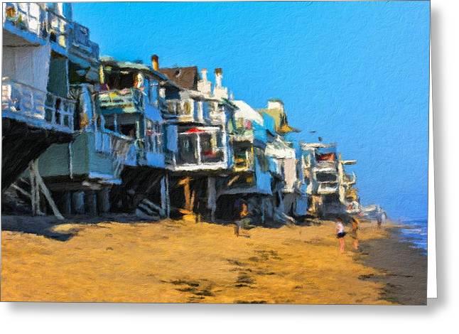 Villas On The Rocky Coast Of Malibu In Los Angeles Greeting Card