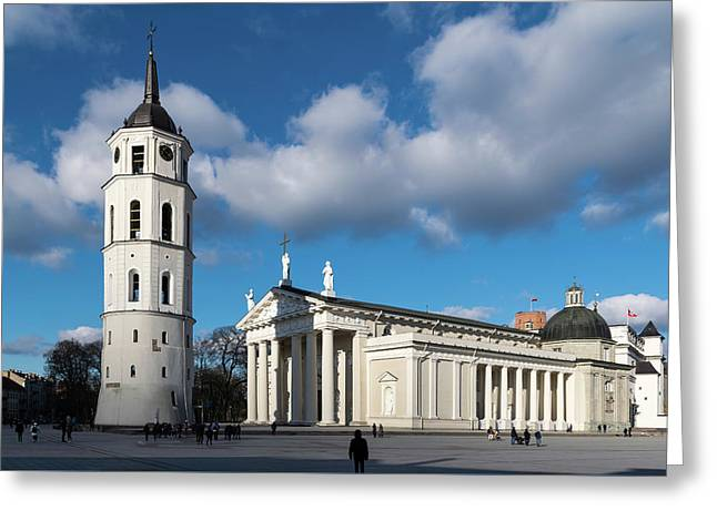 Vilnius Bell Tower And Cathedral Greeting Card