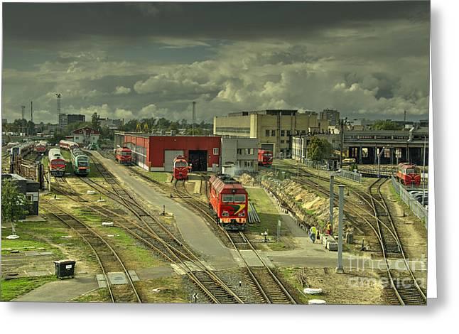 Vilnius Depot  Greeting Card by Rob Hawkins